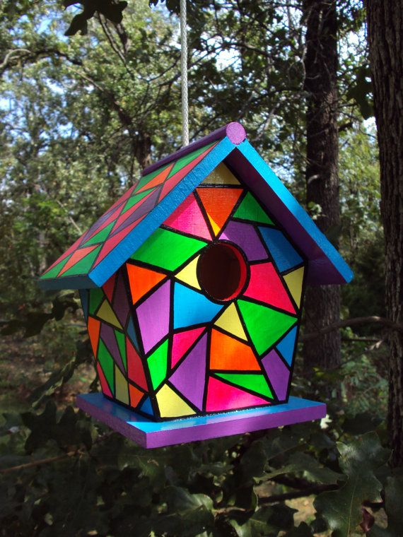 Handpainted Stained Glass Birdhouse Bright Colors with Rope | Bird .