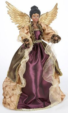 African American Angel Tree Topper Afrocentric Handcrafted Black .