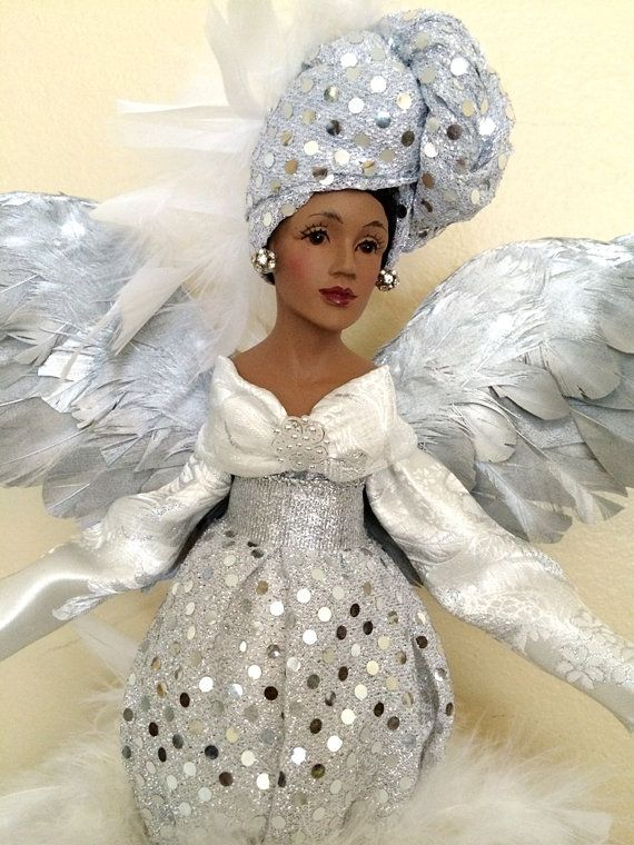 African American Christmas Angel Silver Sparkle by DivineAngelShop .