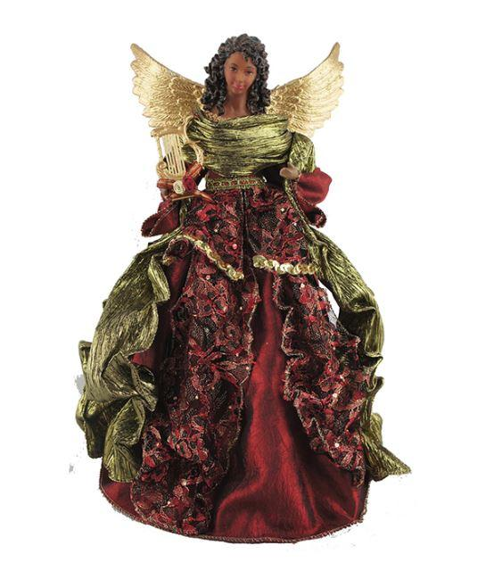 African American Angel Tree Topper - maroon lace – It's A Black .