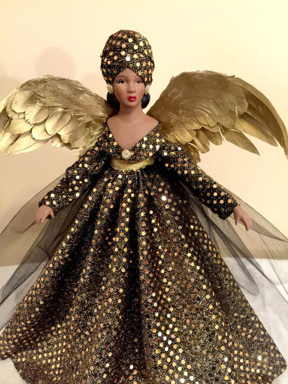 African American Kwanzaa Christmas Angel Tree Topper OOAK | Etsy .