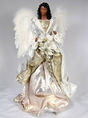 "18"" Gold + Silver Christmas Black Angel Tree Topper African ."