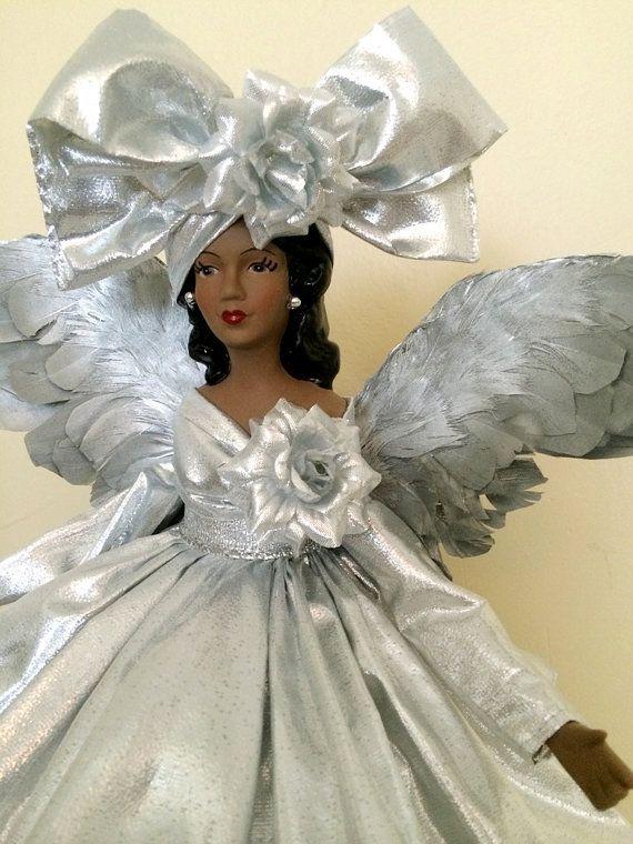 Silver Christmas Angel Tree Topper African American OOAK Black .