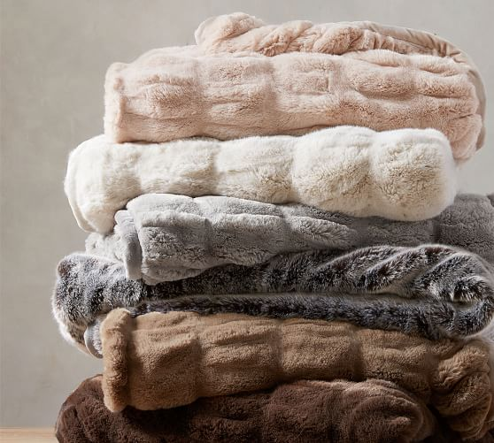 Faux Fur Ruched Throw Blankets | Pottery Ba