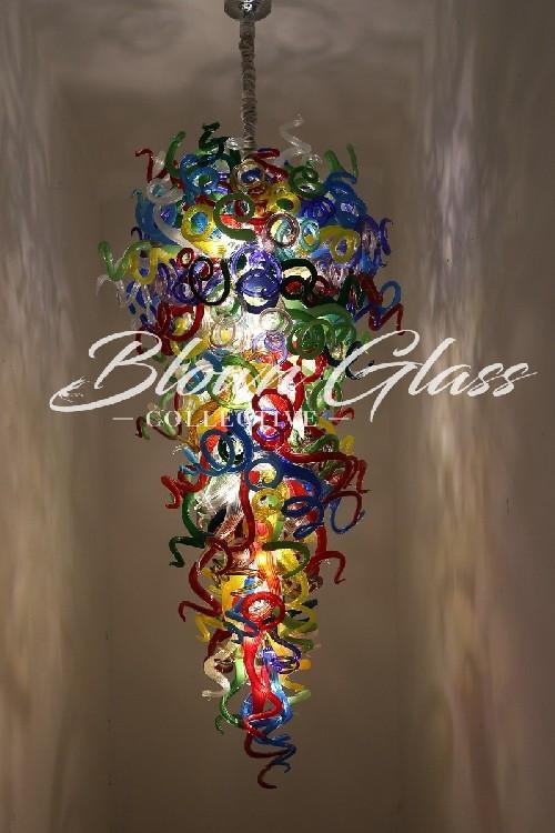 All the Colors on Parade Blown Glass Chandelier - Blown Glass .