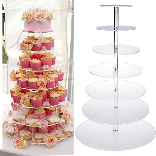 7 Tier Towering Acrylic cup Cake Stand Wedding Birthday Display .