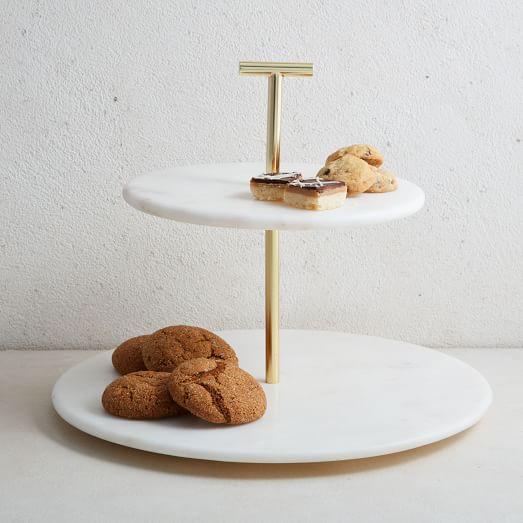 Marble & Brass 2-Tier Cake Sta