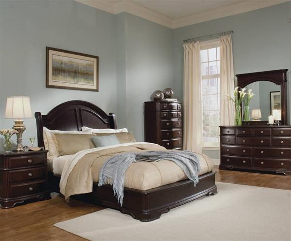 Grandover Rich Cherry Wood Master Bedroom Set | Dark wood bedroom .