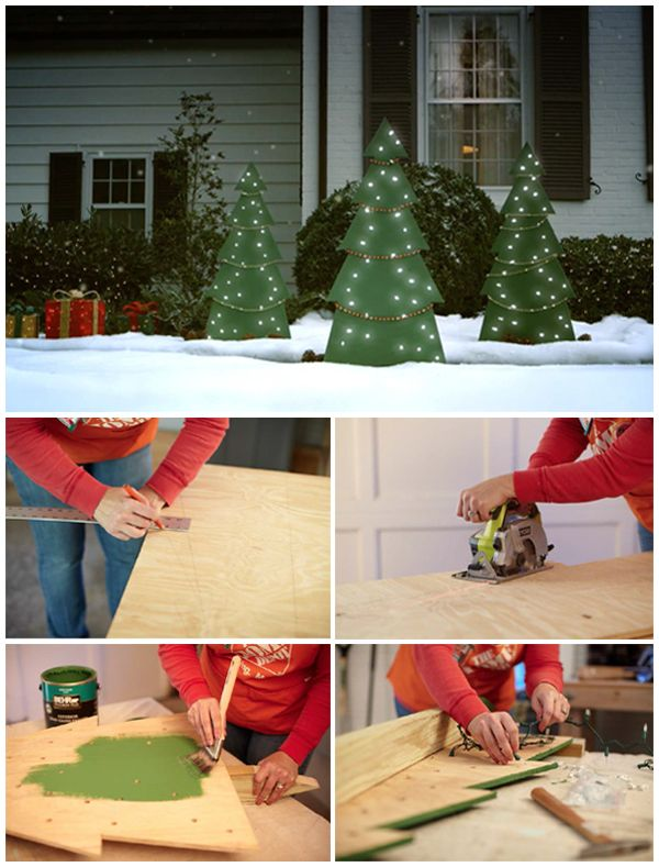Holiday Tree Yard Decor at The Home Depot | Outdoor christmas diy .