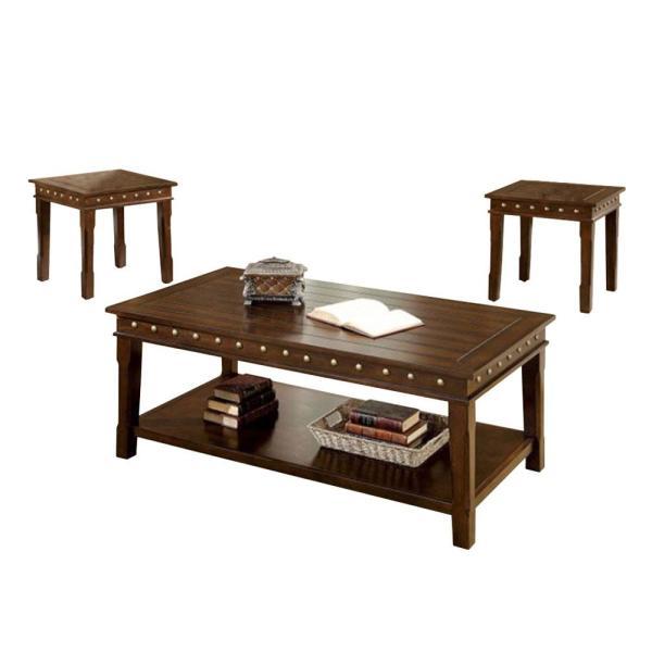 Benjara Solid Wood Dark Brown Coffee and End Tables Set (Pack of 3 .