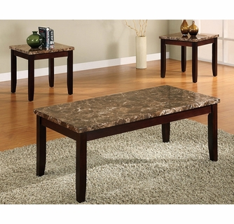 Ferrara 3-Pc Coffee Table Set w/ Faux Marble Top by Crown Ma