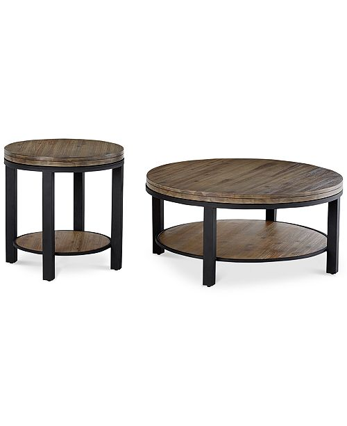 Furniture Canyon Round Table Set, 2-Pc. Set (Coffee Table & End .