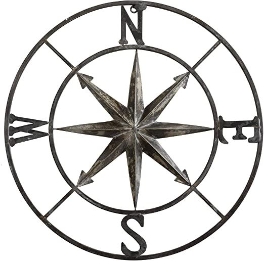 Amazon.com: Creative Co-op Decorative Round Metal Compass Wall .