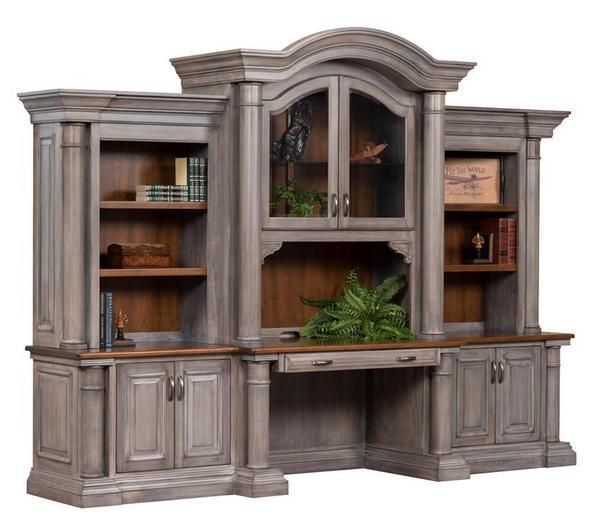 Paris Credenza Desk with Optional Three-Piece Hutch Top fr