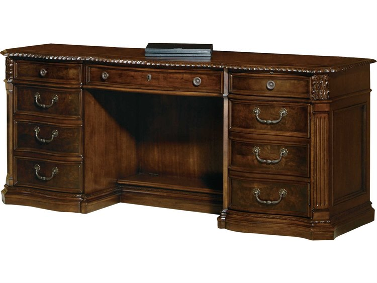 Hekman Office 72 x 24 Executive Credenza Desk in Old World Walnut .
