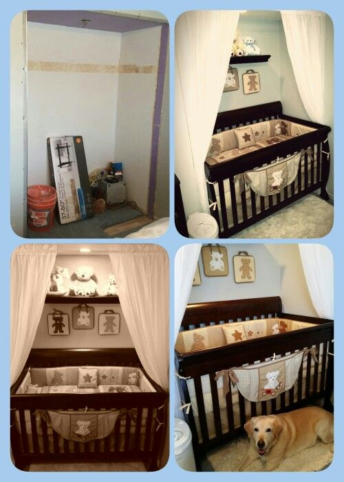 Crib in closet space | Small space nursery, Parents room, Baby .