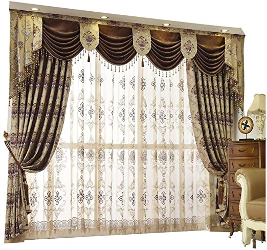 Amazon.com: Queen's House Luxury Baroque Pattern Window Curtains .