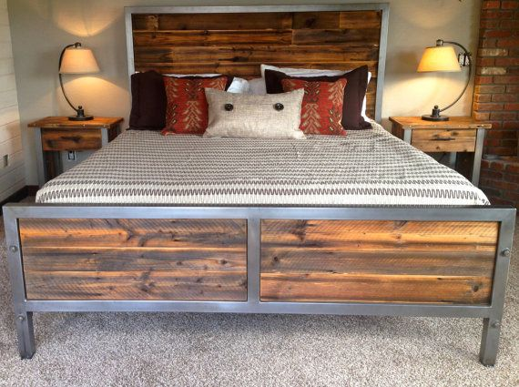 Repurposed Wood and Steel Bed by foundpurpose on Etsy, $1699.00 .