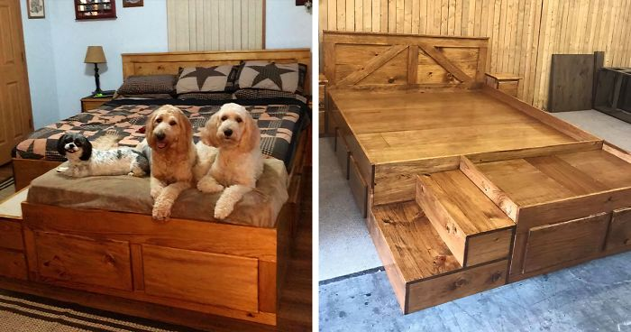 This Company Makes Custom Wooden Bed Frames With Built-In Pet Beds .