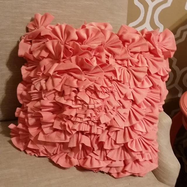 Find more Coral Ruffle Cynthia Rowley Throw Pillow for sale at up .