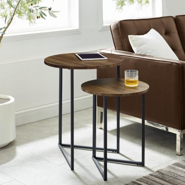 Welwick Designs Dark Walnut/Black 2-Piece Round Nesting End Tables .