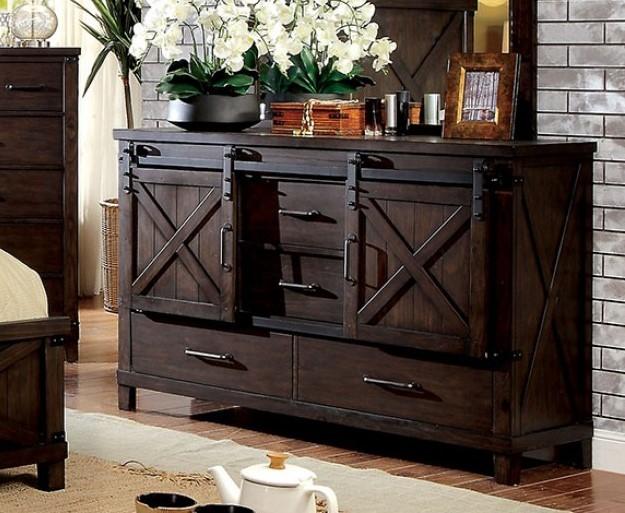 Bianca Dark Walnut Wood Dresser by Furniture of Ameri