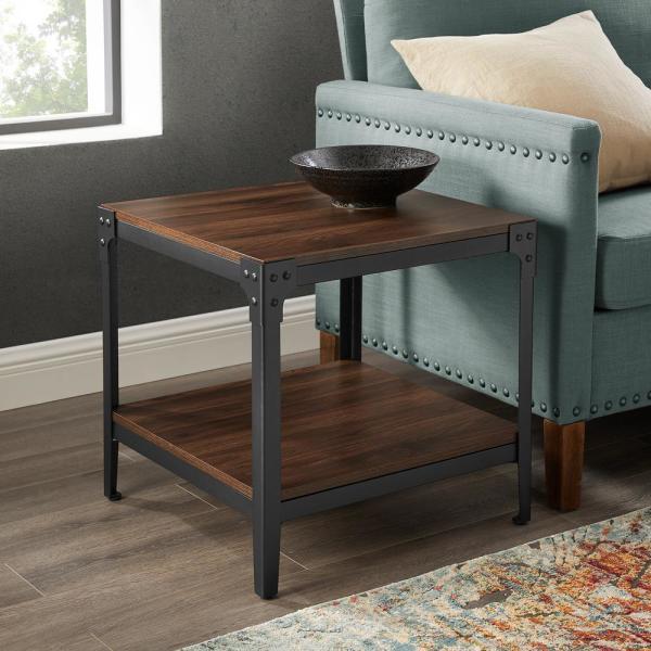 Walker Edison Furniture Company Rustic Wood Dark Walnut End Side .
