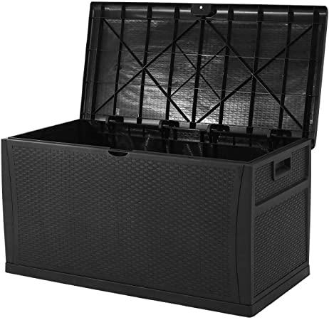 Amazon.com: Patiomore 120 Gallon Resin Wicker Patio Storage Box .