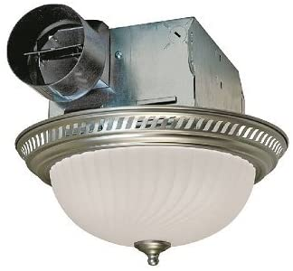 Air King DRLC702 Round Bath Fan with Light, Nickel - Ceiling Fan .