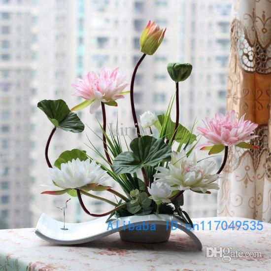 Flower Arrangement Ikebana Arranged Artificial Lotus Flower Silk .