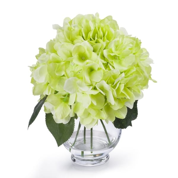 Shop Enova Home Silk Hydrangea Flower Arrangement in Clear Glass .