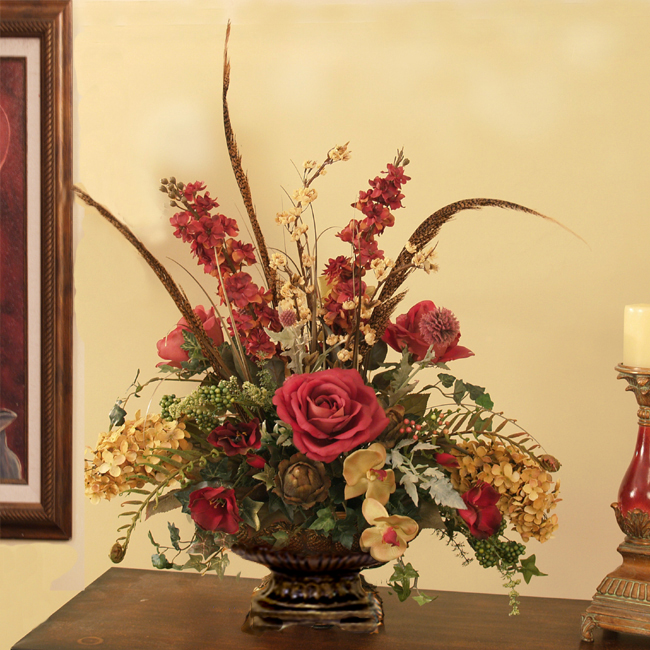 Custom Designs : Floral Home Decor, silk rose arrangements, tulip .