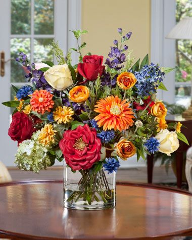 Mixed Silk Flower Bouquet | Summer flower arrangements, Silk .