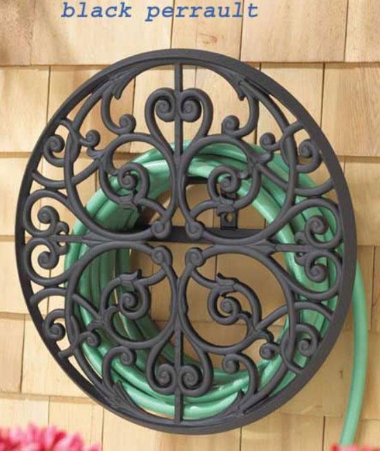 Wall Mount Garden Hose Holder - Round With Decorative Scro