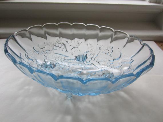 Vintage Blue Glass Bowl Four Footed Bowl Glass Decorative Bowl | Et