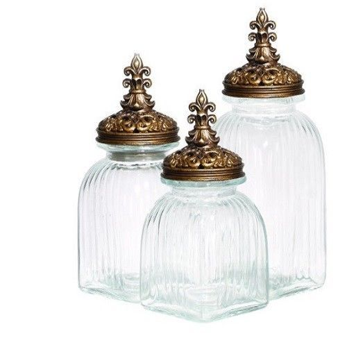 Clear Glass Canister Set w/ Gold Lids 3 Piece Decorative Kitchen .
