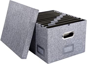 Amazon.com: H.K. Rowan & Co. Fabric Hanging File Box - Decorative .