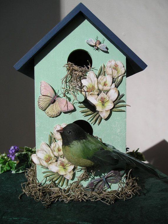 Handpainted Indoor Decorative Birdhouse with by purpleinkgraphics .