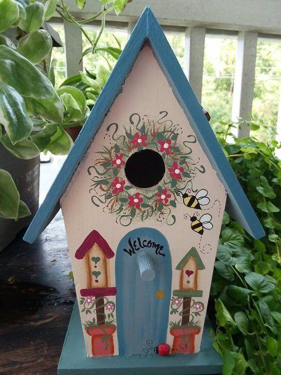 Painted Bird house/ Decorative Bird House/Indoor Bird House/Gift .