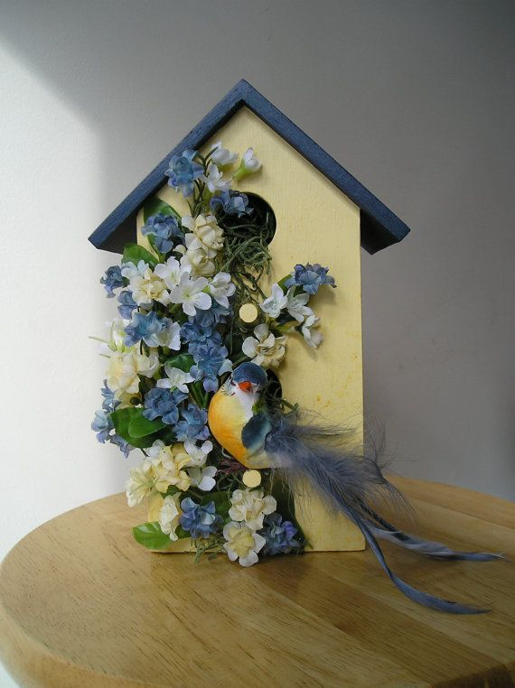 Indoor Decorative Handpainted Birdhouse with Blue Bird and Blue .