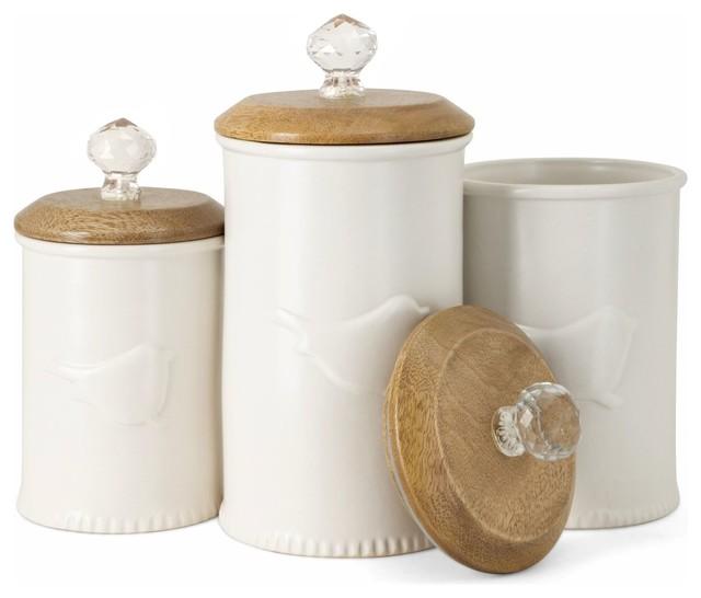 Trisha Yearwood Bluebird Ceramic Canisters, Set of 3 .