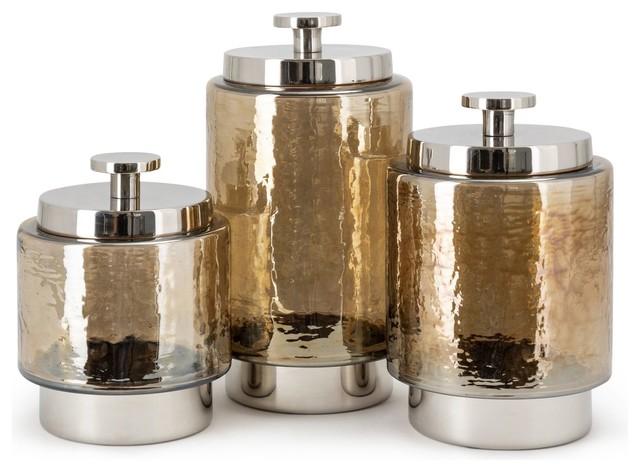 Trisha Yearwood Coffee Talk Decorative Glass Canisters, Set of 3 .