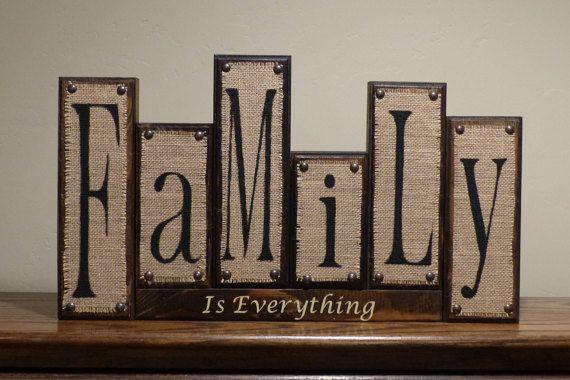 Burlap Family blocks, Rustic Home Decor, Custom Family Wood Block .