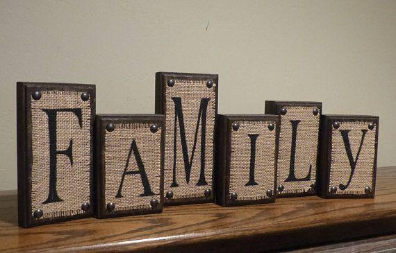 Set of 6 Decorative Letter Blocks - FAMILY Burlap on Dark Walnut .