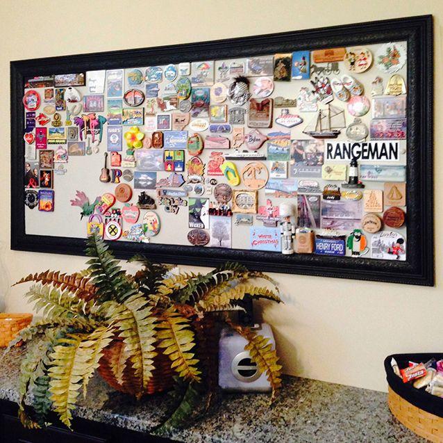 Framed magnetic panel for magnet display | Travel wall decor .