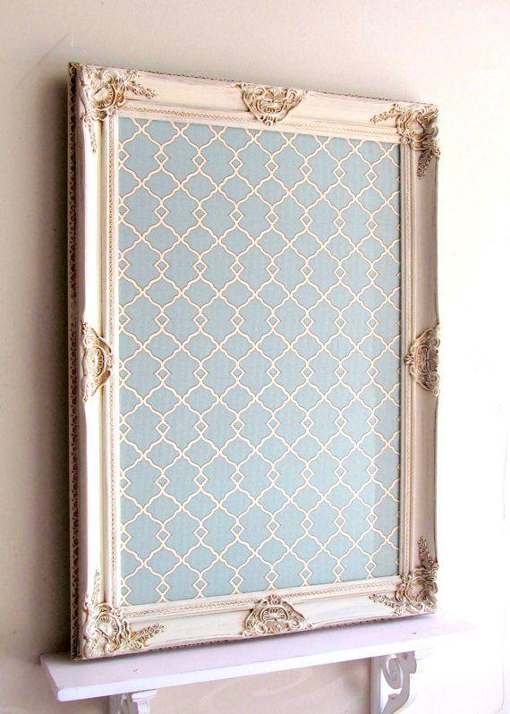Decorative MAGNET BOARD Framed Bulletin Board Teal by ShugabeeLane .