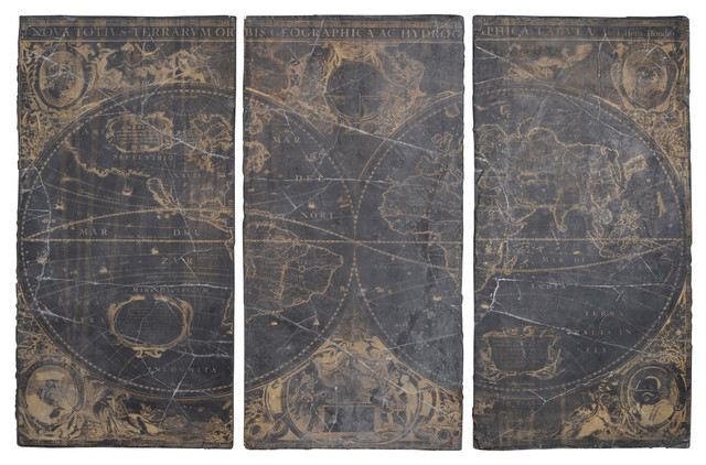 "Distressed Decorative Wall Panels 35x70"", Set of 3 - Traditional ."