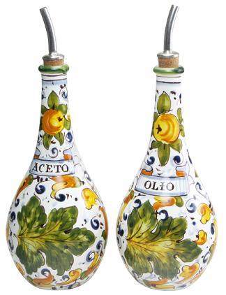 Floral Ceramic Oil and Vinegar Bottle Cruet Set from Tuscany .