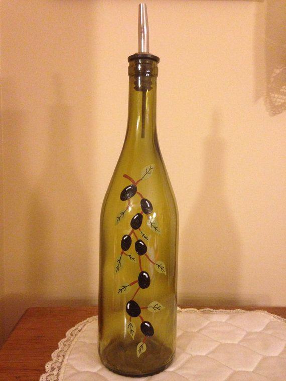Hand Painted Decorative Olive Oil Dispenser   Oil dispenser, Olive .