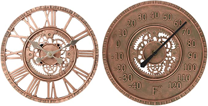Amazon.com: Lily's Home Hanging Wall Clock and Thermometer Set .